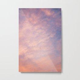 Sunset and Airplane | Fiery Sky Metal Print