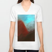 free shipping V-neck T-shirts featuring Mountains in blue by Ordiraptus