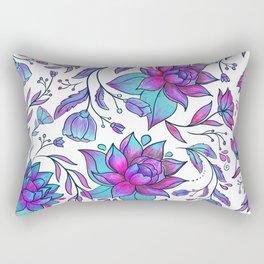 Unicorn Flowers Pattern Rectangular Pillow