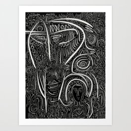 Black and White Magic Celebration of Life Graffiti Tribal Art Art Print