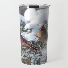 Sunny Winter Cardinals (square) Travel Mug