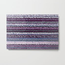 Carpet Stripes Eggplant Purple Steel Blue Metal Print