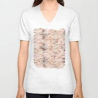 rose gold V-neck T-shirts featuring Rose Gold Waves by Cat Coquillette