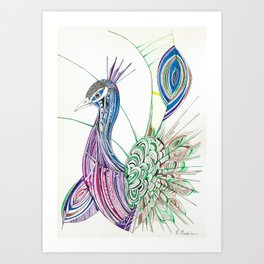Lines & feathers Art Print