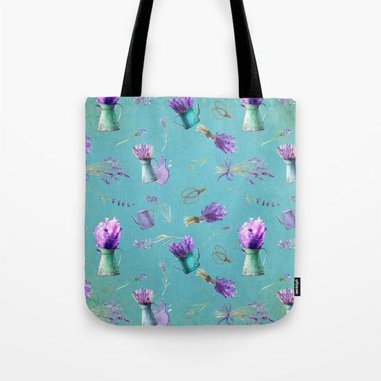 Summer Flower Provence- Lavender Flowers pattern  #Society6 Tote Bag