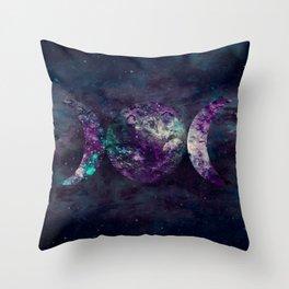 Triple Moon Goddess Universe Throw Pillow