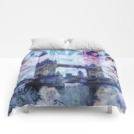 London Tower Bridge mixed media Art and Typography Comforters