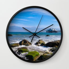 Pacific Pier | Malibu Ocean Scene Waves Tide Beach Art Print Tapestry Wall Clock