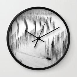 Fishing and Bamboos Wall Clock
