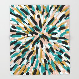 Teal, Pink, and Gold Paint Burst Throw Blanket