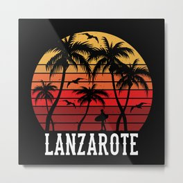 Lanzarote Palm Trees Holiday Motif Gift Idea Metal Print