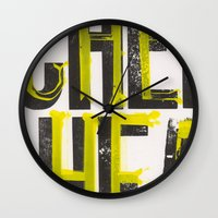notorious Wall Clocks featuring Notorious Wisconsin by Abby Hoffman