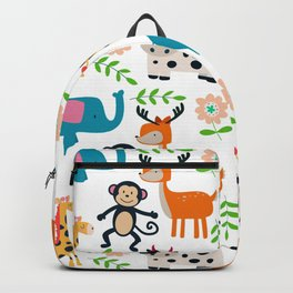 Cute cartoon animals and flowers pattern Backpack