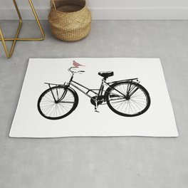 Baker's bicycle with bird Rug