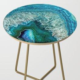 Aqua turquoise agate mineral gem stone Side Table