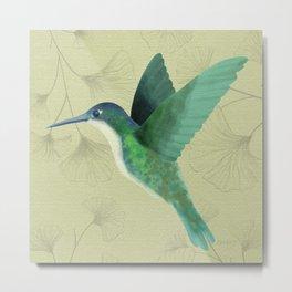 Hummingbird and Ginkgo Leaves Metal Print