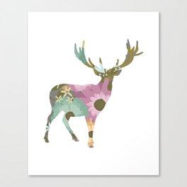 Floral Deer 01 Canvas Print