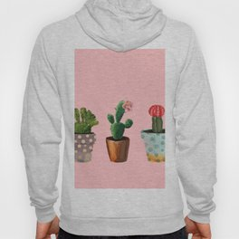 Three Cacti With Flowers On Pink Background Hoody