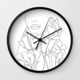 Minimal Line Art Summer Bouquet Wall Clock