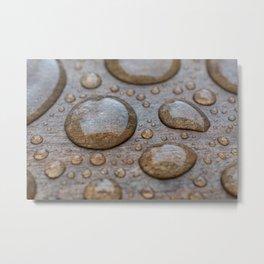 Water Drops on Wood 2 Metal Print