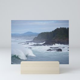 Crashing Waves In Blue Mini Art Print