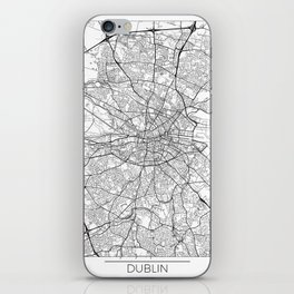 Dublin Map White iPhone Skin