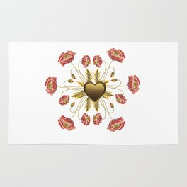 Poppies Embroidery Faux Gold Heart Rug