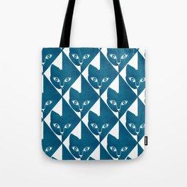 Hiding Cat Pattern in Blue Tote Bag