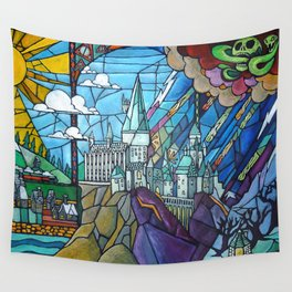 Hogwarts stained glass style Wall Tapestry