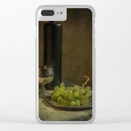 Still life with wine and green grapes Clear iPhone Case