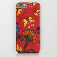 Batik butterflies and flowers on red iPhone 6s Slim Case