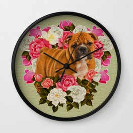 English Bulldog Puppy with flowers Wall Clock