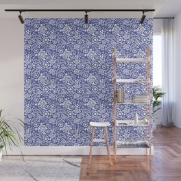 Boho Chic Blue and White Paisley Pattern Wall Mural