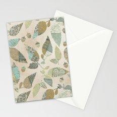 Nostalgic Patchwork Autumn Leaf Pattern Teal Beige Stationery Cards