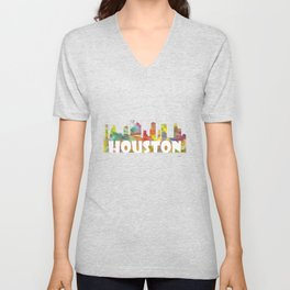 Houston, Texas skyline MCLR 2 Unisex V-Neck