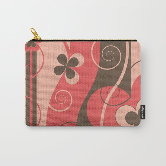 Modern Retro Butterfly Floral Graphic Art Carry-All Pouch