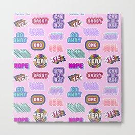Fun patches / pink Metal Print
