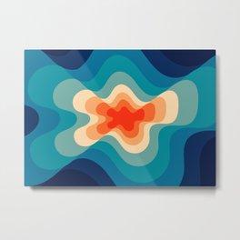 Retro 80s Blue and Orange Mid-Century Minimalist Abstract Art Metal Print