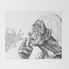 Geometric Graphic Black and White Smoker Drawing Throw Blanket