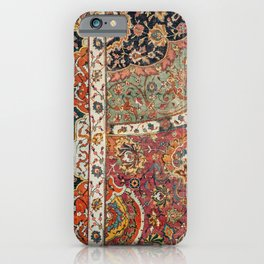 Persian Medallion Rug II // 16th Century Distressed Red Green Blue Flowery Colorful Ornate Pattern iPhone Case