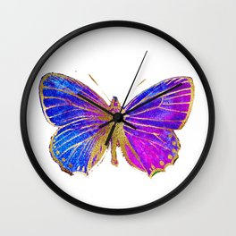 Elegant Gold-Glitter Butterfly in Blue and Purple Wall Clock