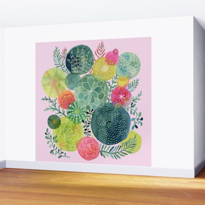 Succulent Circles on Pink Wall Mural