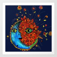 sun and moon Art Prints featuring Sun-Moon by Aubree Eisenwinter