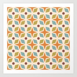 Mid Century Modern Abstract Star Dot Pattern 441 Orange Brown Blue Olive Green Art Print
