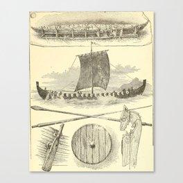 Vintage Vikings Artwork and Illustrations Canvas Print