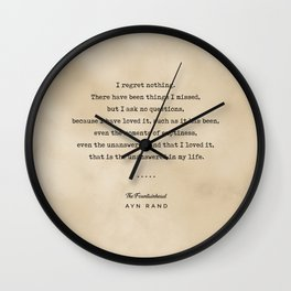 Ayn Rand Quote 03 - Typewriter Quote on Old Paper - Minimalist Literary Print Wall Clock