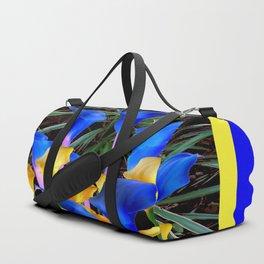 BLUE-BLACK MODERN ABSTRACT BLUE & GOLD CALLA LILIES Duffle Bag