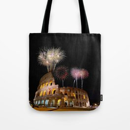 Colosseum illuminated with fireworks in Rome. Tote Bag