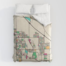 Colorful City Maps: Palm Springs, California Comforters