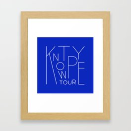 Know your type Framed Art Print